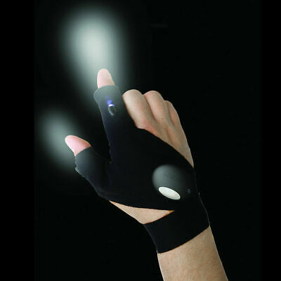 Outdoor Survival Fishing Magic Strap Fingerless Glove LED Flashlight Torch Cover • 5.49£
