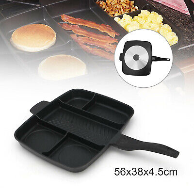 5 Multi Section Frying Pan Cooks Professional Non-Stick Breakfast Skillet Grill • 18.99£