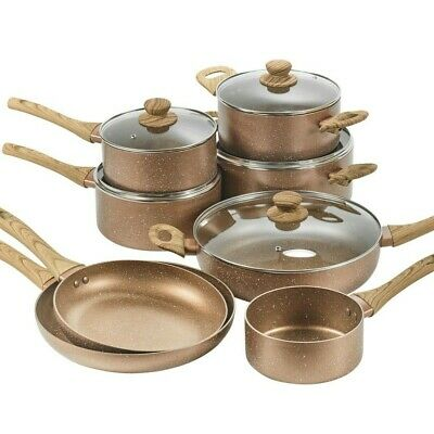 URBN-CHEF Ceramic Rose Gold Induction Cooking Pots Pans Frying Pan Cookware Set • 15.29£