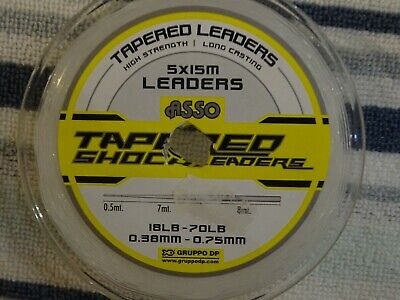 1 X Spool Of ASSO 18lb - 70lb  TAPERED SHOCK LEADERS In Clear @ £9.00 • 9£