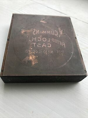 Vintage Copper Face Printing Print Type Block CUMMINS FITTED LOCH CAST Fishing • 10£
