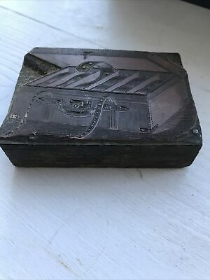 Vintage Printing Print Type Block Fishing Leather Cartridge Case Strapped 8x6cm • 10£