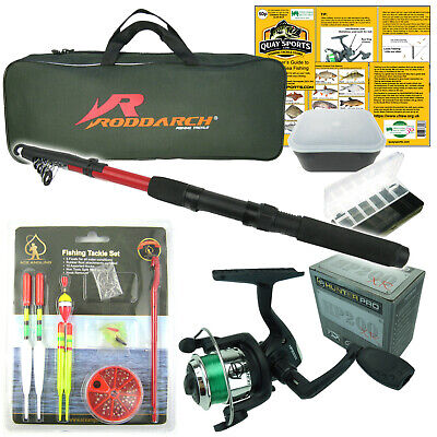 Complete Starter Junior Beginner Kids Fishing Rod & Reel Kit Set Inc. All Tackle • 18.99£