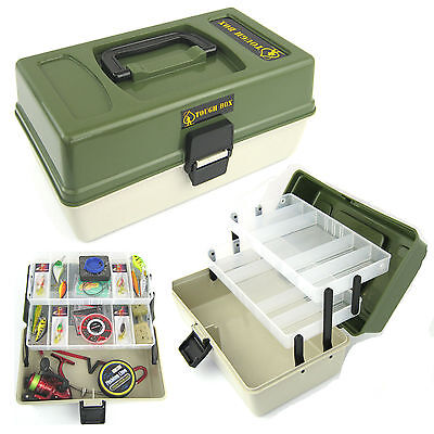 Fishing Tackle Box 2 Tray Cantilever 'tough Box' Sea Coarse Game Fishing • 12.49£