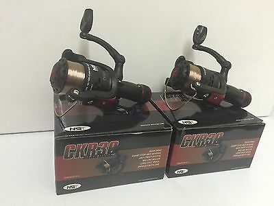 2 X NGT CKR30 CARP COARSE FLOAT FEEDER FISHING REELS 1BB REEL WITH 8LB LINE • 16.95£
