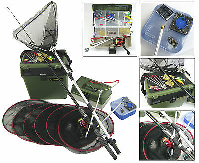 Complete Starter Beginners Fishing Kit Inc. Seat Tackle Box Tackle Nets Rod Reel • 79.95£