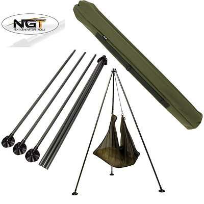 Ngt Carp Fishing  Weigh Tripod System With Large Mud Feet And Carry Case Bag • 37.52£