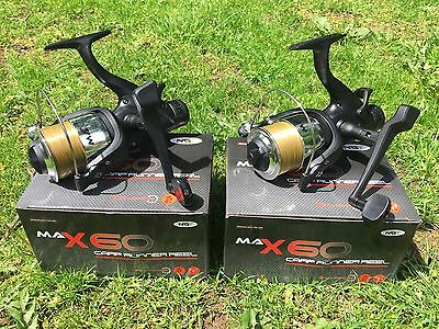 2 X Ngt Max 60 2 Bb Carp Fishing Reels Loaded With 10lb Line Ngt Tackle • 26.95£