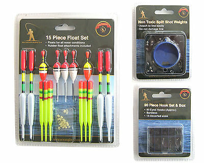 Fishing Tackle Set Including 15 Floats 90 Hooks And Non Toxic Split Shot • 6.99£