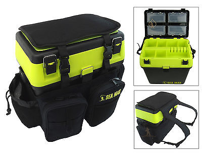 Sea Fishing Seat Box & Rucksack SEA MAX RODDARCH Tackle Box Back Pack Ruck Sack • 37.99£