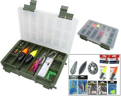 Sea Fishing Tackle Set Includes Tackle Box Floats Hooks Weights Feathers Rigs • 18.99£