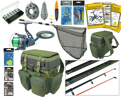 Complete Starter Sea Fishing Kit Set Rod & Reel Seat Box Rucksack Sea Tackle Net • 74.99£