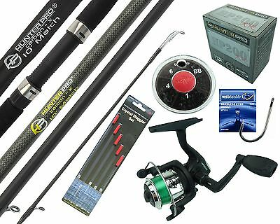 Complete Starter Beginner Fishing Kit Set & 10' Rod Reel Line Floats Hooks Shot • 24.99£