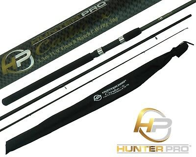 11ft Carbon Carp Float Match Fishing Rod. Hunter Pro Inc. Cloth Bag • 17.99£