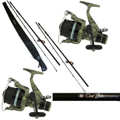 Carp Fishing Set Up 2 X 12ft Carp Fishing Rods + 2 X Carp Runner Camo Reels • 84.95£