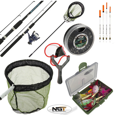 Complete Fishing Set Spinning Rod And Reel Kit Floats Shot Spinners + Net Combo • 54.40£