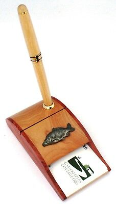 Common Carp Fish Wooden Pen And Business Card Holder Fishing Gift 80 • 24.99£