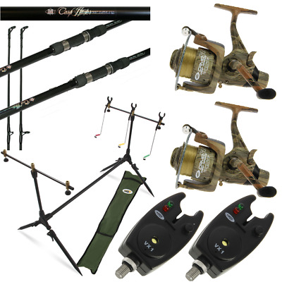Camo Carp Fishing Set Up 2 X 12ft Carp Rods + 2 X Carp Reels + 2 X Alarms + Pod • 129.95£