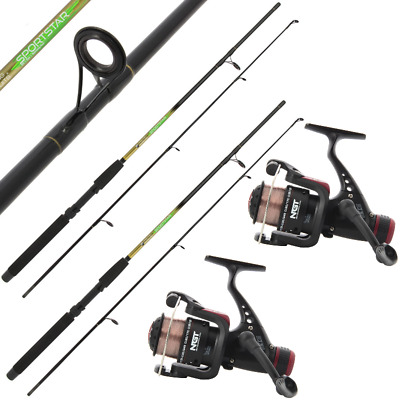 2 X New 6ft 2 Piece Ngt Sportstar Spinning Rods + 2 X Ckr30 Fishing Reels • 34.95£