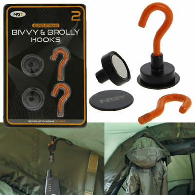 Ngt Magnetic Bivvy Brolly Hooks With Backing Plate Carp Fishing Tackle Shelter • 9.95£