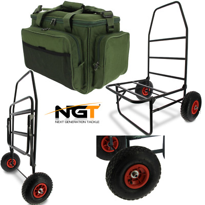 New Ngt Classic Carp Fishing Trolley Folds Flat With Insulated Tackle Bag 709 • 69.82£