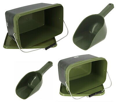 Baiting Spoon Camo Bait Buckets Set For Spod Particles Boilies Pellets 2 Sizes • 9.63£