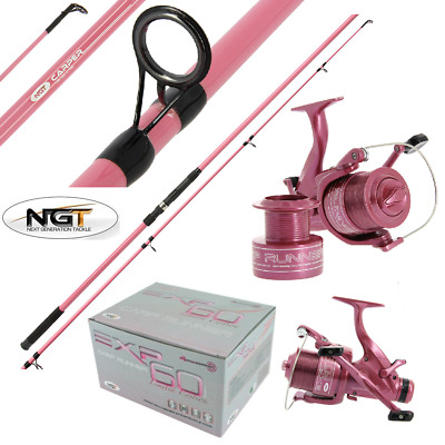 Ngt Carp Fishing Pink Carper Rod 2pc 12ft + Pink Carp Runner Reel Women Carp Set • 64.95£
