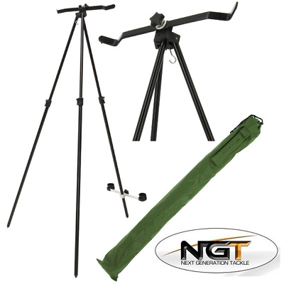 NGT Sea Fishing Beach Master Tripod System For 2 Rod And Reel Extendable In Case • 27.90£