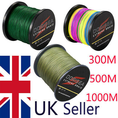 UK Dorisea Green Multicolour 300m-1000m Dyneema Braided Fishing Line Carp Line • 22.90£