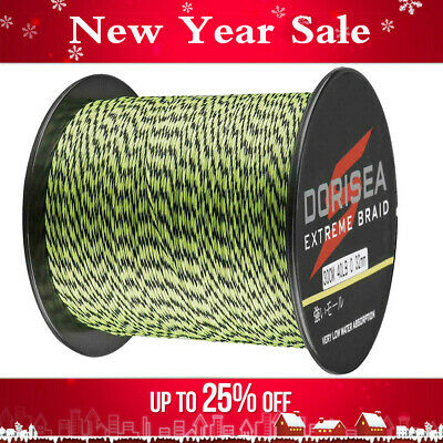 UK Seller Dorisea 100m~2000m Fluorescent Green&Black Spot Braided Fishing Line • 12.99£