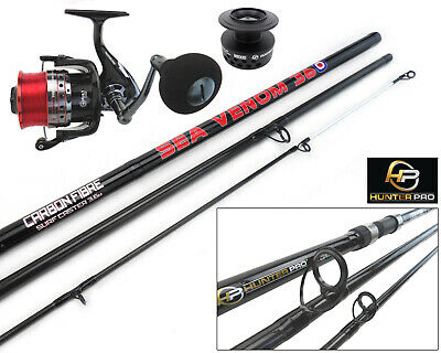 12ft Carbon Surf Beach Caster Rod & Sea Fishing Reel + Spare Spool  • 58.99£