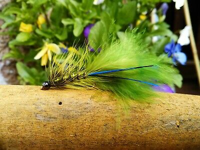 Damsel Blue Flash Fly Fishing Wet Trout Lures Trout Flies • 4£