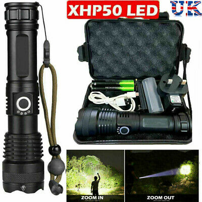 900000Lumens High Power XHP50 Zoom Flashlight LED Rechargeable Torch Headlamp • 13.89£