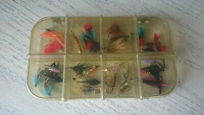 Vintage RICHARD WHEATLEY 8 Compartment Celluloid Fly Box With Trout Flies. • 18£