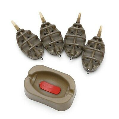 Inline Flat Method Feeder Mould Set 4 & 1 For Outdoor Carp Fishing Tackle • 6.49£