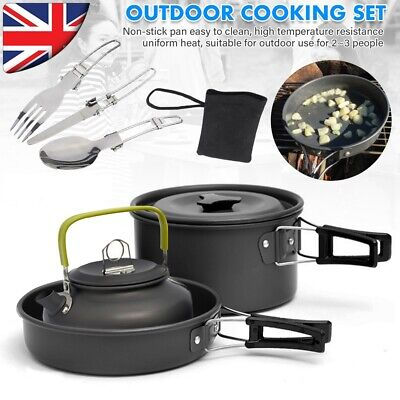 Camping Cookware Set Outdoor Cooking Pot Pan Kettle For Hiking Picnic Fishing UK • 19.59£