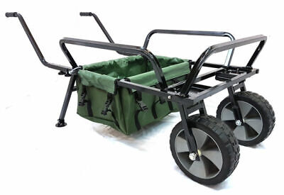 Bison Heavy Duty Fishing Two Wheel Barrow With Barrow Bag Fishing Trolley • 39.99£