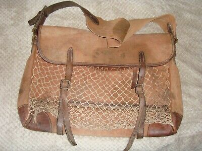 Vintage 'BRADY' Canvas & Leather Fishing-Game-Hunting Creel Bag With Net Pocket • 99.99£