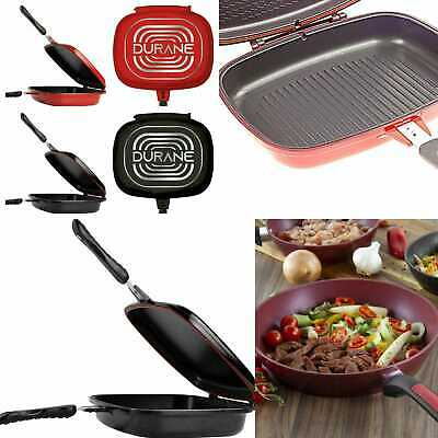 Pan Double Sided Grill Die Cast Frying Magic Foldable Non Stick Flipping 32cm • 26.99£