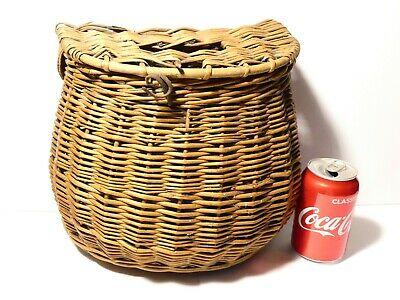 Antique Flat Backed Wooden Wicker Basket FISHING CREEL A/f Restoration Project • 39£