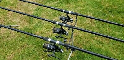 Set Of Three Carp Rods And Bait Runner Reels • 162£