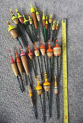 Vintage Hardcork /Cork Bodied Fishing Floats. Grayling / Perch Bobbers X 24 • 19£