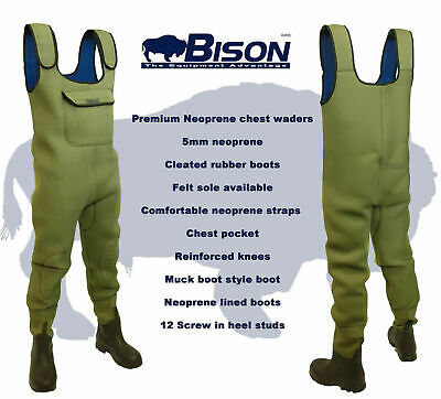 NEOPRENE CHEST WADERS, BISON 5mm STANDARD OR FULL BODIED • 59.99£