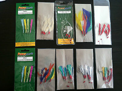 SEA FISHING: 10  X  MIXED  MACKERAL COLOURED FEATHER / GLITTER RIGS • 8.99£