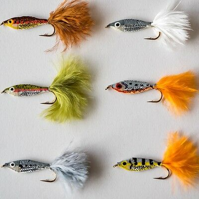 6 Epoxy Baitfish Minnows Fry Trout Fly Fishing Flies  By Dragonflies  • 4.24£