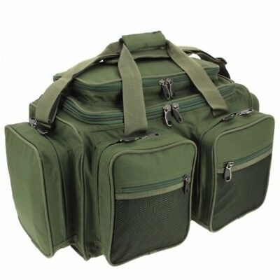 Carp Fishing Deluxe Green Carryall Multi Pocket Holdall Tackle Bag Xpr Ngt • 26.35£