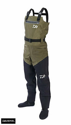 New Daiwa Hybrid 4 Stretch Breathable / Neoprene 4S Chest Waders - All Sizes • 174.99£