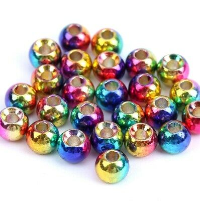 Hot Head Rainbow Coloured Brass Beads For Fly Tying Various Sizes • 2.85£