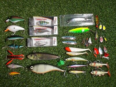 Pike Perch Fishing Lures Job Lot Plugs Spoons Spinners FISHING SET UP • 34.99£