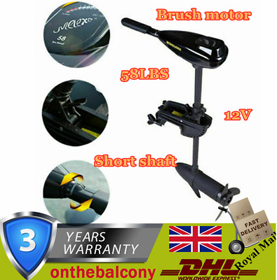58LBS Outboard Engine Boat Trilling Motor Electric Saltwater Freshwater Dinghy • 149.03£